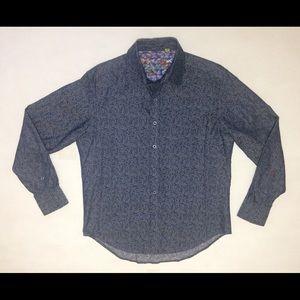 Robert Graham Mens Large Blue Button Tailored Fit
